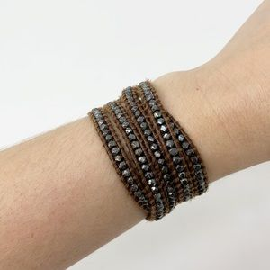 Chan Luu | Brown Leather Wrap Bracelet Gunmetal